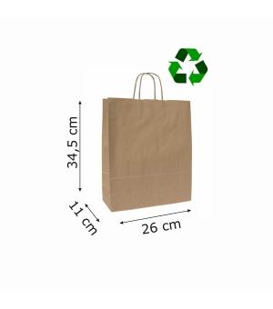 Buste di carta sailing avana riciclata - 100 gr - 26x11x34,5 cm -  maniglia ritorta