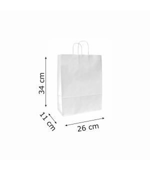 Buste di carta sailing bianca colorata - 100 gr - 26x11x34,5 cm -  maniglia ritorta