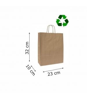 Buste di carta sailing avana riciclata - 100 gr - 23x10x32 cm - maniglia ritorta