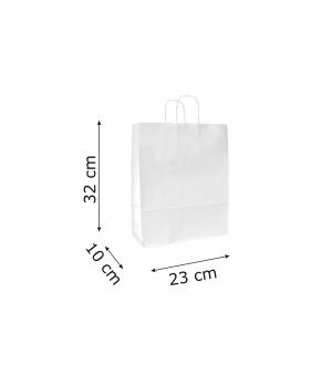 Buste di carta sealing bianca colorata - 100 gr - 23x10x32 cm - maniglia ritorta