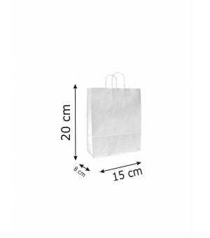 Buste di carta sailing bianca colorata - 100 gr - 15x8x20 cm - maniglia ritorta