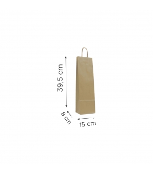 Buste portabottiglie di carta sailing avana bianca - 120 gr - 15x8x39,5 cm - maniglia in carta ritorta