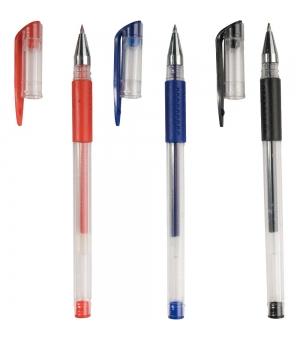 Penne in plastica con inchiostro gel, impugnatura gommata e cappuccio