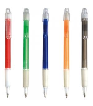 Penne a scatto in plastica ABS con impugnatura gommata e clip trasparente