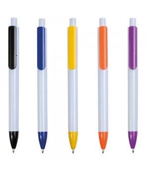 Penne Personalizzate in plastica con fusto bianco, clip e punta colorate