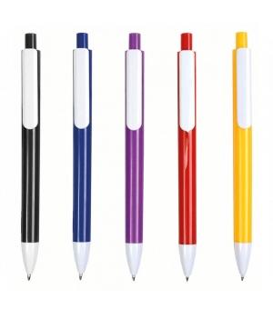 Penne a scatto in plastica con fusto colorato, clip e punta bianche