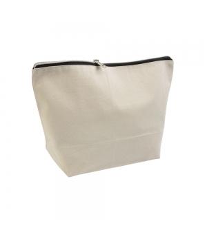 Beauty case in cotone spazzolato con chiusura zip