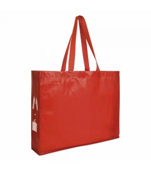 Shopper in plastica riciclata R-PET 45x35x12 cm con soffietto e manici lunghi