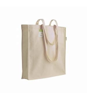 Shopper in cotone organico 150 gr - 38x42x8 cm manici lunghi e soffietto