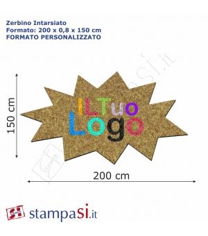 Zerbino intarsiato personalizzato sagomato cm 200x150