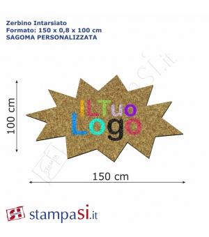 Zerbino intarsiato personalizzato sagomato cm 150x100