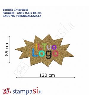 Zerbino intarsiato personalizzato sagomato cm 120x85