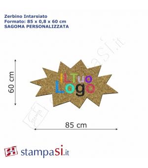 Zerbino intarsiato personalizzato sagomato cm 85x60