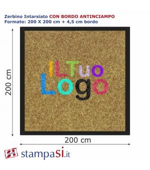 Zerbino intarsiato personalizzato quadrato cm 200x200 con bordo