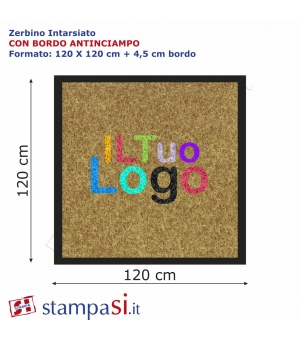 Zerbino intarsiato personalizzato quadrato cm 150x150 con bordo