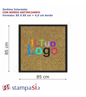Zerbino intarsiato personalizzato quadrato cm 120x120 con bordo