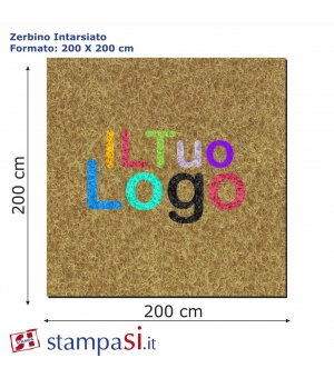 Zerbino intarsiato personalizzato quadrato cm 200x200