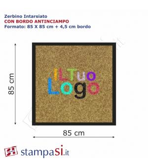 Zerbino intarsiato personalizzato quadrato cm 85x85 con bordo
