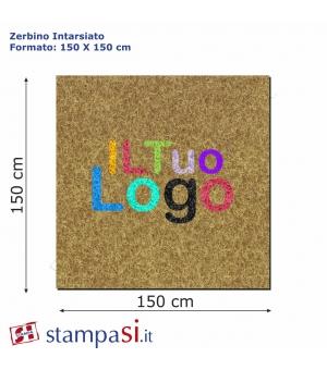 Zerbino intarsiato personalizzato quadrato cm 150x150