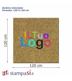 Zerbino intarsiato personalizzato quadrato cm 120x120