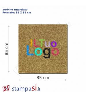 Zerbino intarsiato personalizzato quadrato cm 85x85