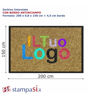 Zerbino intarsiato personalizzato rettangolare cm 200x150 con bordo