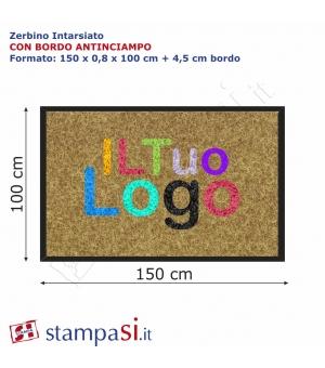 Zerbino intarsiato personalizzato rettangolare cm 150x100 con bordo