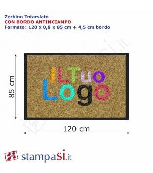 Zerbino intarsiato personalizzato rettangolare cm 120x85 con bordo