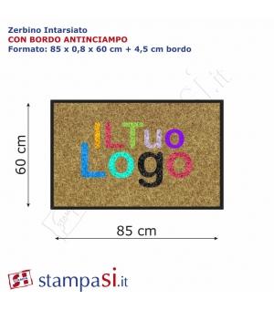 Zerbino intarsiato personalizzato rettangolare cm 85x60 con bordo