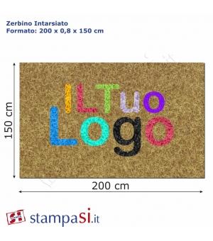 Zerbino intarsiato personalizzato rettangolare cm 200x150