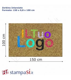 Zerbino intarsiato personalizzato rettangolare cm 150x100