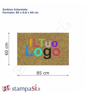 Zerbino intarsiato personalizzato rettangolare cm 85x60