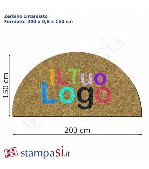 Zerbino intarsiato personalizzato mezzaluna cm 200x150