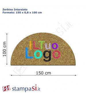 Zerbino intarsiato personalizzato mezzaluna cm 150x100