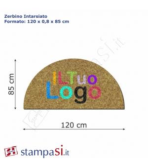 Zerbino intarsiato personalizzato mezzaluna cm 120x85