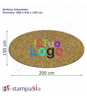 Zerbino intarsiato personalizzato ovale cm 200x150