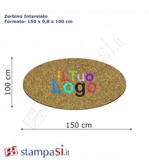 Zerbino intarsiato personalizzato ovale cm 150x100
