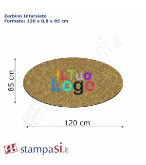 Zerbino intarsiato personalizzato ovale cm 120x85