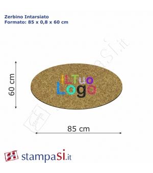 Zerbino intarsiato personalizzato ovale cm 85x60