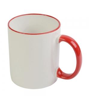 Tazza in ceramica A grade bianca con bordi e manico colorati e scatola bianca