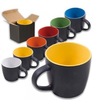 Tazza in ceramica A grade con esterno in colore nero e interno colorato con scatola nera
