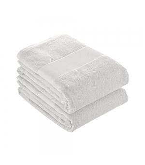 Telo in spugna di cotone bianco 350 gr. 70x140 cm con banda opaca