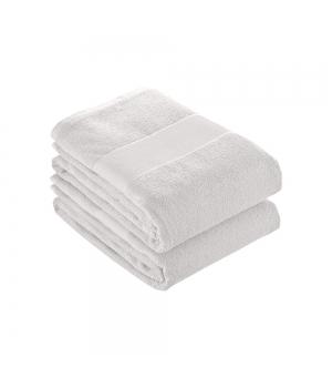 Telo in spugna di cotone bianco 350 gr. 50x100 cm con banda opaca