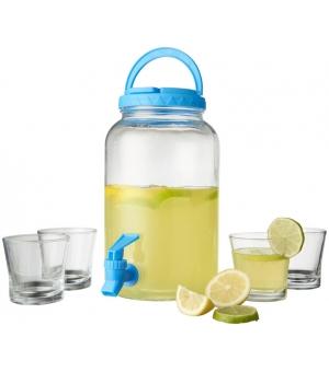 Set dispenser in vetro per servire bevande fredde