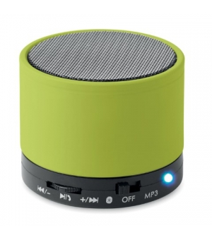 Casse bluetooth 4.2 in ABS Ø6x4,9 cm con finitura gommata e Led