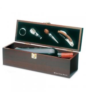 Confezione regalo in legno per una bottiglia e accessori