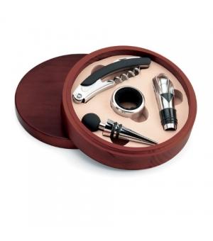 Set vino 4 pezzi in confezione di legno rotonda