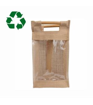 Borsa porta bottiglie in iuta e bambù 20x37x10,6 cm