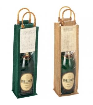 Borsa porta bottiglie in iuta con manici in bambù