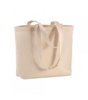 Shopper Borse KINGSTON Natural in cotone 120 gr. con soffietto alla base - Manici lunghi - 40x30x10 cm.
